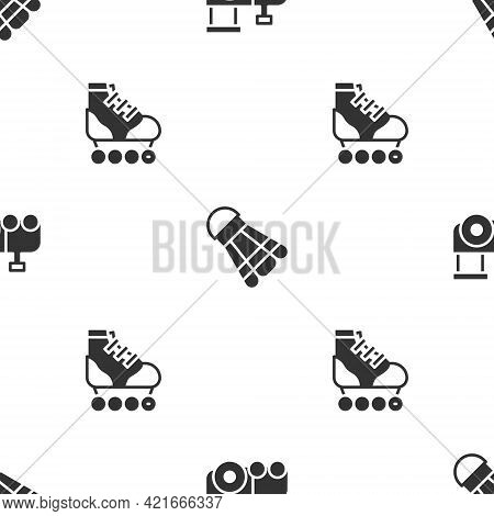 Set Toy Train, Badminton Shuttlecock And Roller Skate On Seamless Pattern. Vector
