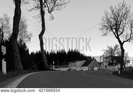 Satzung, Germany - May 23, 2021: Way To Village In Ore Mountains