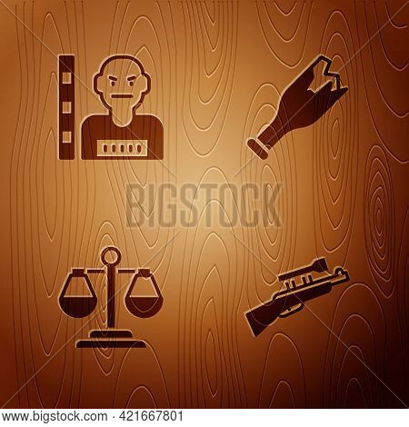 Set Sniper Rifle With Scope, Suspect Criminal, Scales Of Justice And Broken Bottle As Weapon On Wood