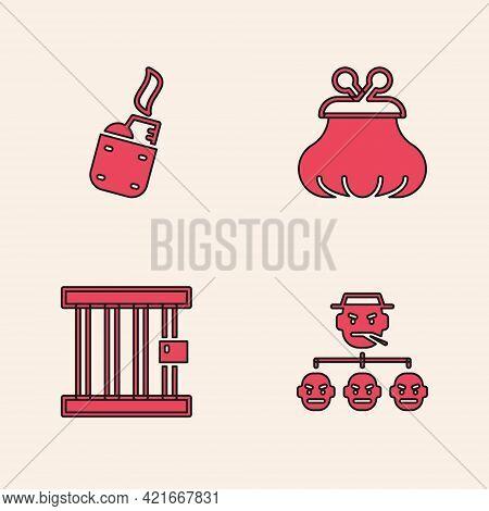 Set Mafia, Lighter, Wallet And Prison Window Icon. Vector