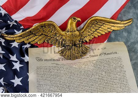 American Flag Of Vintage Document Detail The United States Declaration Of Independence With 4th July