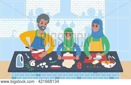 Grandparents Cooking Food Together With Grandchild. Flat Style Illustration.