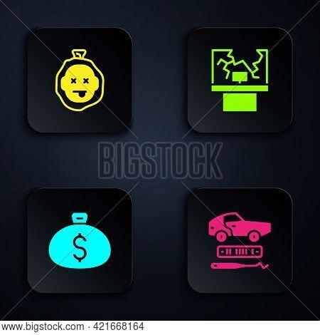 Set Car Theft, Murder, Money Bag And Broken Window. Black Square Button. Vector