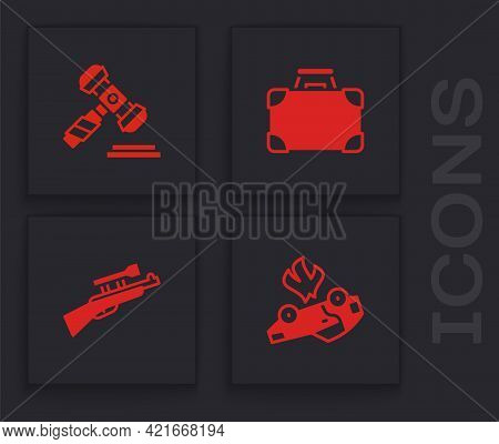 Set Burning Car, Judge Gavel, Briefcase And Money And Sniper Rifle With Scope Icon. Vector
