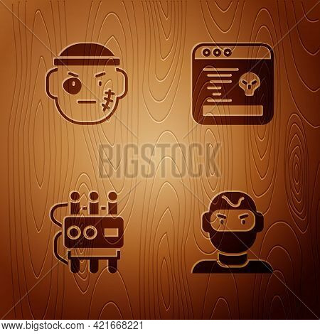 Set Thief Mask, Bandit, Dynamite Timer Clock And System Bug On Wooden Background. Vector