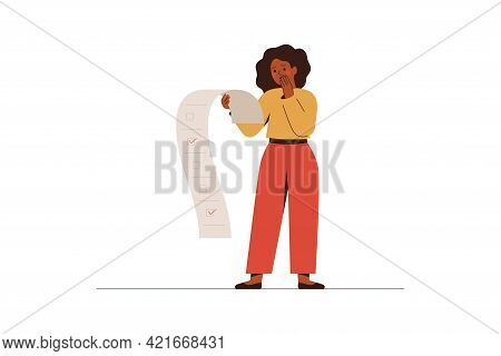 Nervous Woman Holds To-do List With Red Ticks. African American Female Employee Has No Time To Do He