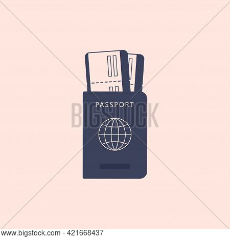 Paper Passport With Boarding Passes Inside. Id Document With Tickets On The Plane Or Train Isolated