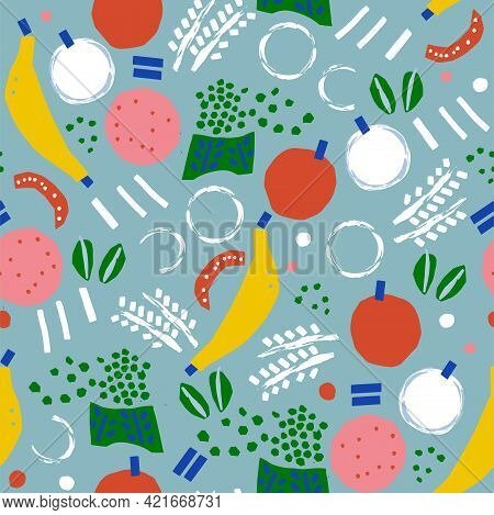 Paint Brush Doodle Banana, Apple And Abstract Shape Illustration Motif Seamless Repeat Pattern Digit