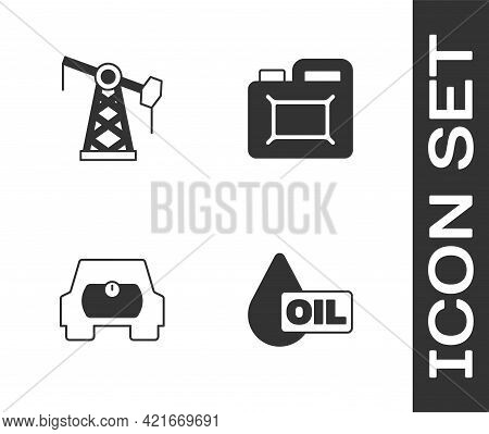 Set Oil Drop, Pump Or Pump Jack, Gas Tank For Vehicle And Canister Motor Oil Icon. Vector