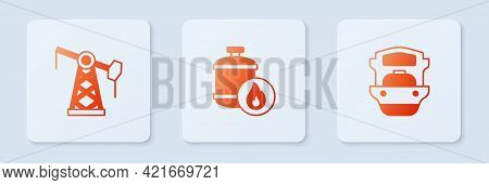 Set Propane Gas Tank, Oil Pump Or Pump Jack And Tanker Ship. White Square Button. Vector