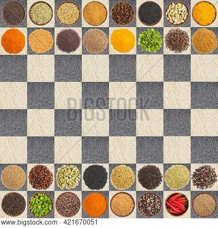 Set Of Spices In Saucers And Heaps Of Rice And Cumin On A Chessboard. Indian Cuisine Concept