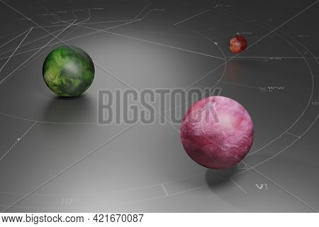 Color Dream Of An Astrologer. 3d Rendering. Colored Fictional Planets Above Space In The Form Of An