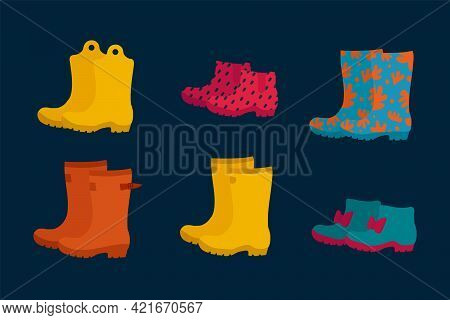A Set Of Autumn Boots For Puddles. Bright Shoes For Autumn Painted In Doodle Style. Boots For Novemb