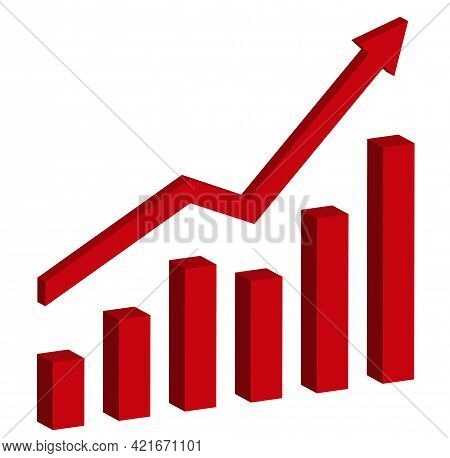 Graph With Increase Report. 3d Diagram With Rise And Gain Progress. Vector Illustration