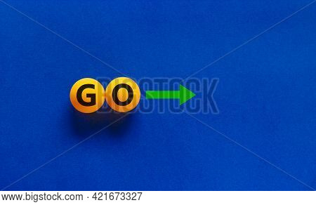 Time To Go Symbol. Conceptual Image Of Motivation. Orange Table Tennis Balls With The Word 'go', Gre