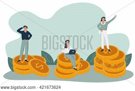 Business Team Walking Success Ladder Or Steps Banner, Web Page. High Potential And Company Developem