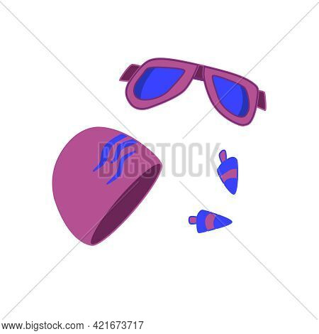 Swimming Goggles, Swimming Cap And Earplugs. Vector Set Of Accessories For Swimming Lessons, Isolate