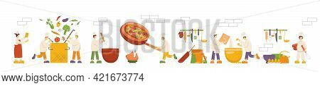 Chef Cooks Are Cooking Food, Dish On Kitchen In Restaurant. Funny Men And Women Making Soup, Pizza,