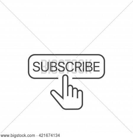 Subscribe Button With Finger Cursor Icon Button With Hand Cursor For Subscription.