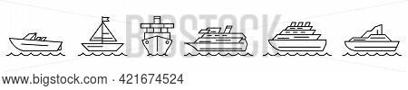 Ship Icon. Set Of Ship Icons. Vector Illustration. Shipping Or Cruise Linear Icons