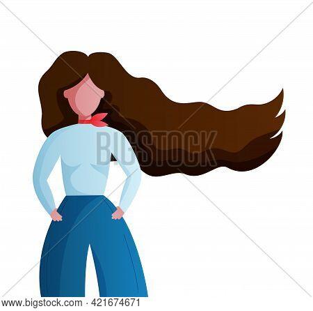 Brunette Girl With Long Flowing Hair. Vector Illustration On White Background.