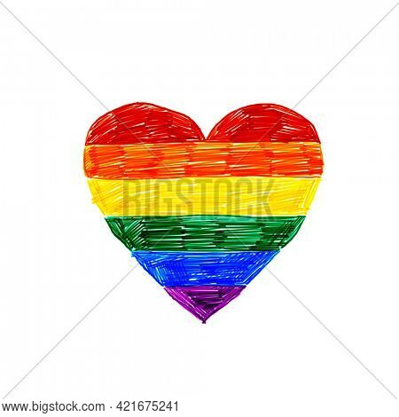 Rainbow heart color pencil drawing, LGBTQ pride flag color heart isolated on white background, Hand drawn illustration