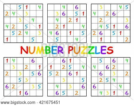 Sudoku Set For Kids Colorful Printable Page Stock Vector Illustration. Place Numbers 1-6 On Each Hor