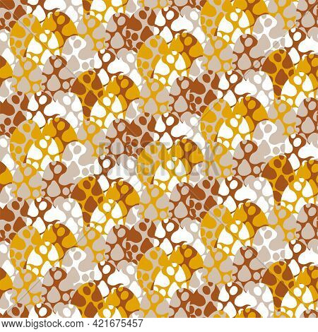 Cooper, Goldenrod, Greige, And White Colors Spotted Eggs Seamless Pattern Vector. Funny Natural Motl