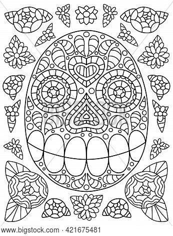 Ornamental Skull And Flowers For Traditional Latin America Festival Dia De Muertos Vector Illustrati