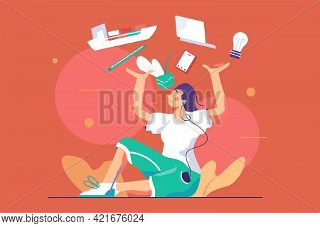 Girl Holding Everything In Hands Vector Illustration. Woman Workaholic Juggling With Different Thing