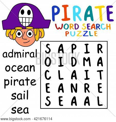 Pirate Word Search Puzzle In English For Kids Stock Vector Illustration. Help The Young Pirate Boy T