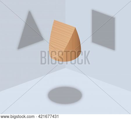 Round, Triangular And Square Shadow, Three Different Shadows From One Wedge Shaped Object, But Not A