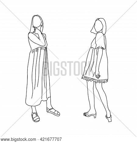 Drawn By A Thin Line Young Girls. For Registration Of An Account Of A Stylist, Clothing Store, Cloth