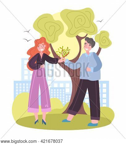 Admirer Or Adorer Giving Beautiful Bouquet As Romantic Gift. Man Giving To Woman A Bouquet Of Flower