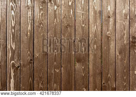 Background Brown Boards, Old Painted Board Fence, Grunge Wood Paneling, Brown Background, Faded Boar