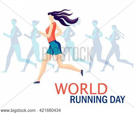 A Group Of People Running. Vector Design For World Running Day 2 June..a Holiday Designed To Attract