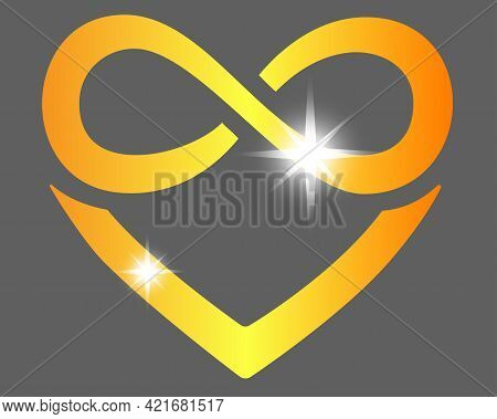 Heart With Infinity Sign - Polyamory Symbol - Vector Full Color Illustration. The Golden Sparkling S