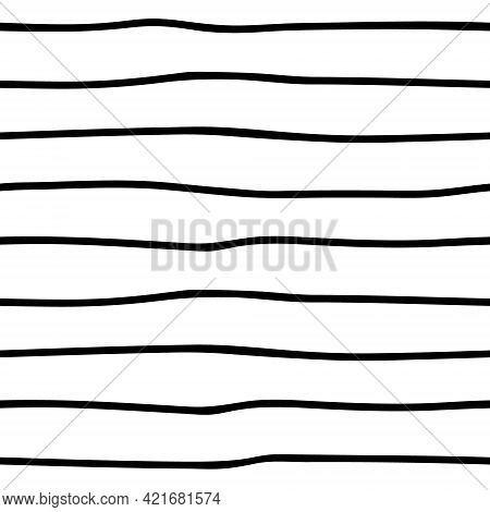Black And White Seamless Stripes Background. Hand Drawn Stripes Pattern. Vector Striped Wallpaper.