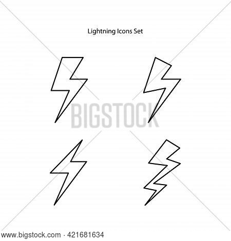 Lightning Icons Set. Simple Icon Storm Or Thunder And Lightning Strike. Set Of Icons Representing Li