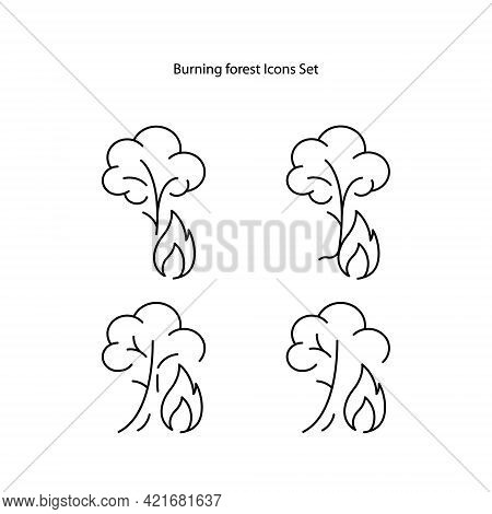 Burned Forest Icons Set. Outline Burned Forest Vector Icon For Web Design Isolated On White Backgrou