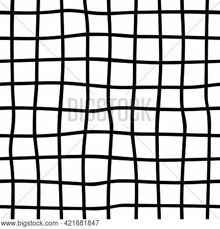 Black And White Plaid Seamless Background. Hand Drawn Plaid Pattern. Vector Abstract Wallpaper.