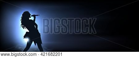 Vector Performer Woman On Concert. Vector Illustration Of A Girl Singing On The Stage. Silhouette Of