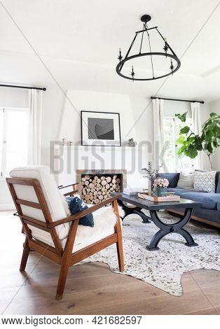 Simple minimal  living room interior