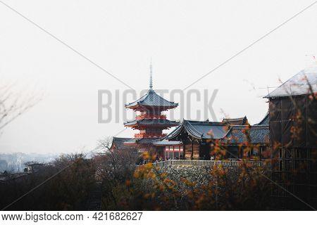 View of Kiyomizydera Shrine in Kyoto, Japan