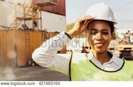 Happiness African American Female Workers : Portrait, African American Female Worker, In Good Health