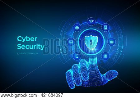 Cyber Security. Data Protection Business Concept On Virtual Screen. Shield Protect Icon. Internet Pr