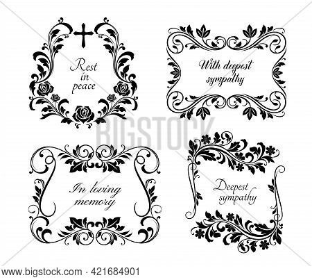 Funeral Frames, Memorial Cards With Floral Borders, Rest In Peace, In Loving Memory And Deepest Symp