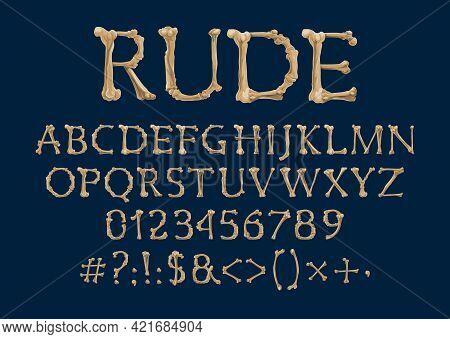 Font With Bone Letters, Creepy Abc Typee Alphabet. Halloween Or Dia De Los Muertos Day Vector Type W