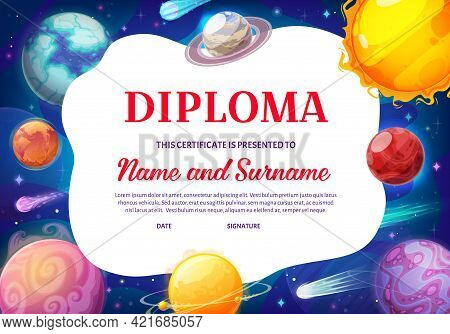 Kids Diploma With Galaxy Planets, Vector Educational Certificate For School Or Kindergarten With Car
