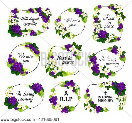 Funeral Service Vector Wreaths And Floral Frames. Condolence Flower Wreaths With Borders Of Purple V